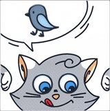 NT/A134/5009 Декор Кошки-Мышки  Птичка 20х20