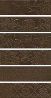 AD/D333/6x/2914 Панно Кампьелло коричневый, 6 частей 8,5х28,5 (размер каждой части) 51х28,5х7