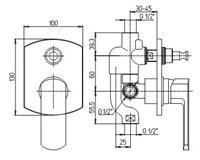 Смеситель никель Paini Ovo 86PW691 для душа с дивертором