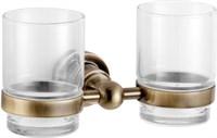 3884D Стакан двойной стекло с держателем Aquanet, латунь (189266)
