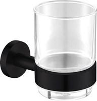 4584MB Стакан стекло с держателем Aquanet, черн.мат (241912)