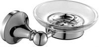 5585 Мыльница стекло с держателем, круглая Aquanet, хром (187051)