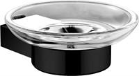 5685MB Мыльница стекло с держателем, круглая Aquanet, черн.мат (241903)