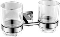 6184D Двойной стакан стекло с держателем Aquanet, хром (202107)