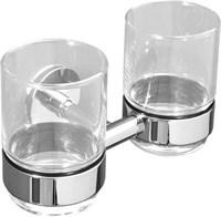 6384D Двойной стакан стекло с держателем Aquanet, хром (202125)