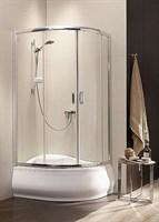 Полукруглые двухдверные асcиметричные душ. кабины Premium Plus E арт.30483-01-01N прозрачное