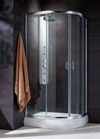Полукруглые двухдверные асcиметричные душ. кабины Premium Plus E арт.30491-01-01N прозрачное